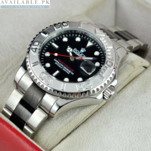 Rolex Yacht Master Black With Stainless Steel Men's Watch