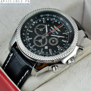 Breitling For Bentley Motors Black Dial Leather Strap Watch