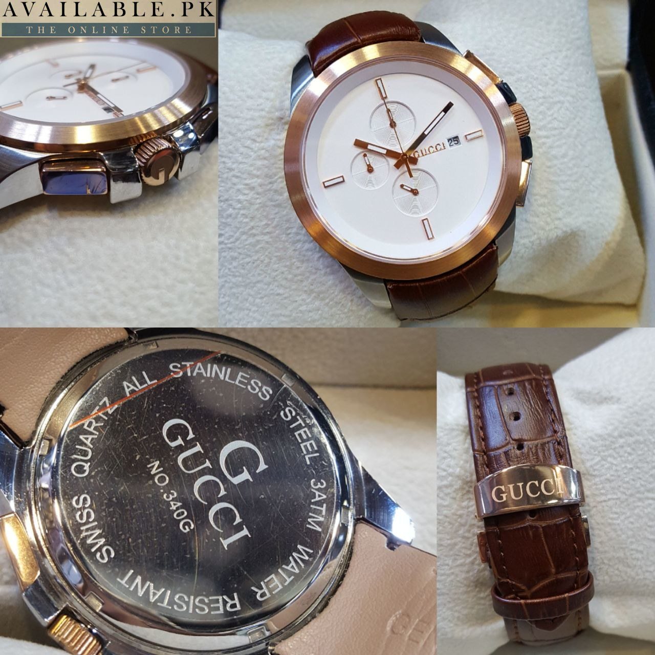 cf3610c2bde Gucci G-Chrono Rose Gold White Dial Brown Belt Men s Watch