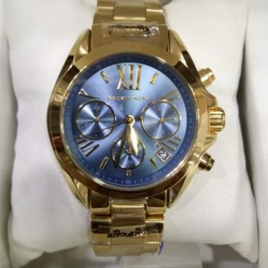Michael Kors Ritz Golden Stainless Blue Dial Chronograph Women Watch Price In Pakistan