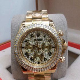 Rolex Golden Chronograph Day Display Women's Watch Price In Pakistan