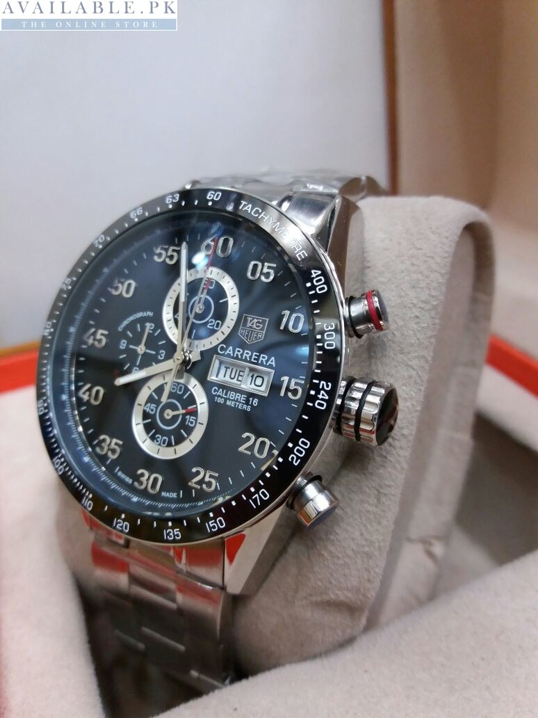4cd4a05197c8 Tag Heuer Carrera Calibre 16 Black Chronograph Stainless Men s Watch