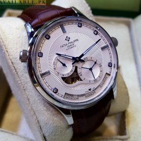 Patek Philippe Geneve World Time Silver Chronograph Automatic Men's Watch Price In Pakistan