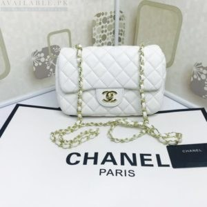 Chanel White Medium Classic Flap Caviar Leather Shoulder Bag Price In Pakistan