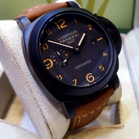 Panerai Matt Black Case Automatic GMT Men's Watch