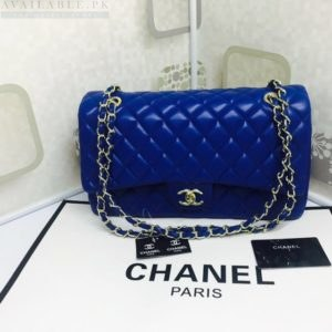 Chanel Large Classic Flap Royal Blue Caviar Leather Shoulder Bag Price In Pakistan