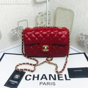 Chanel Rose Red Medium Classic Flap Caviar Leather Shoulder Bag Price In Pakistan