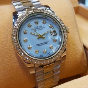 Rolex Sky Blue Dial Silver & Golden Chain Women's Watch Price In Pakistan