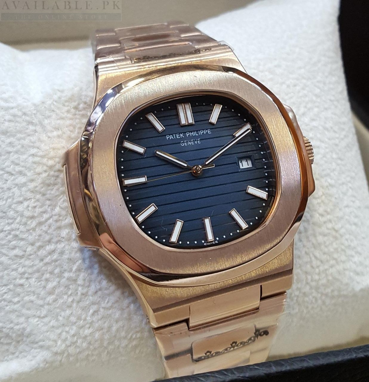 Patek philippe nautilus watches blue dial women 39 s watch available pk for Patek philippe women