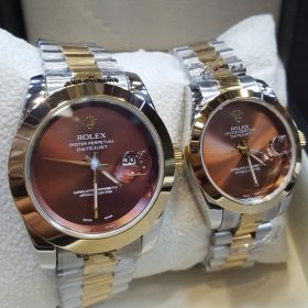Rolex Smooth Bezel Maroon Dial Couple Package Watches Price In Pakistan