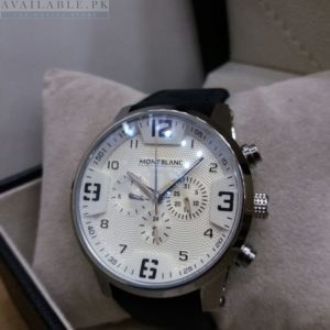 Montblanc White Dial Chronograph With Leather Belt Men's Watch