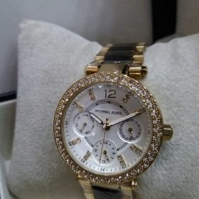 Michael Kors Chronograph White Dial Stones Dual Tone Women's Watch