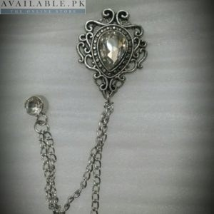 Lapel Pin Silver Chain With Covered Diamond In Pakistan