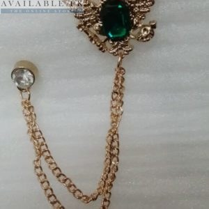 Lapel Pin Golden Chain With 2 Eagles & Green Stone In Pakistan