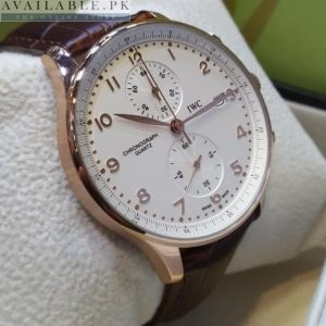 IWC schaffhausen Rose Gold Japanese Chronograph Men's Watch Price In Pakistan
