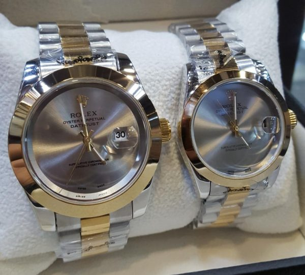Rolex Smooth Bezel Dual Tone Grey Dial Couple Package Watches Price In Pakistan