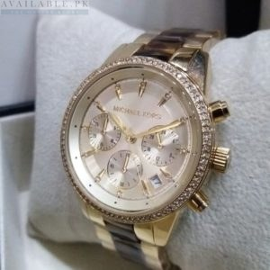Michael Kors Chronograph Pink Pearl Dial Dual Tone Women's Watch Price In Pakistan