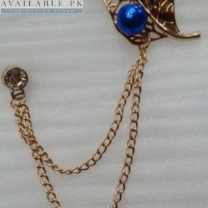 Lapel Pin Golden Chain With Leaf & Blue Pearl In Pakistan