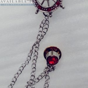 Lapel Pin Silver Chain With Sailing Ship's Wheel & Red Stones In Pakistan