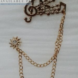 Lapel Pin Golden Chain With Musical Notes Design In Pakistan
