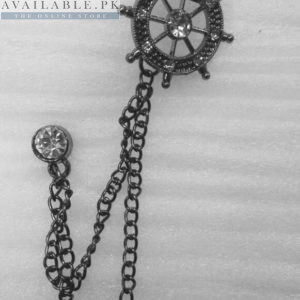 Lapel Pin Metalic Grey Chain With Sailing Ship's Wheel In Pakistan