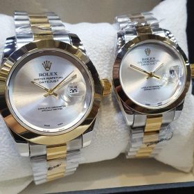 Rolex Smooth Bezel Light Silver Dial Couple Package Watches Price In Pakistan