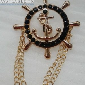 Lapel Pin Golden Chain With Black Sailing Wheel & Anchor In Pakistan