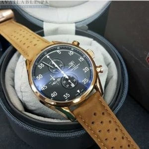 Tag Heuer Gold Case With Brown Leather Master Lock Strap Price In Pakistan
