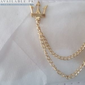 Lapel Pin Golden Chain With Trident Head Mark In Pakistan