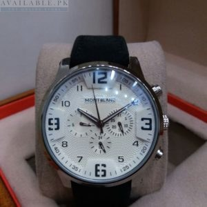 Montblanc Chronograph White Dial Black Leather Belt Men's Watch Price In Pakistan
