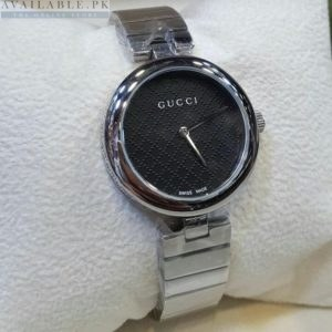Gucci Black Dial Dotted Checkered Stainless Women's Watch
