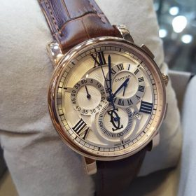 Cartier Chronograph Brown Leather Golden Bezel Men's Watch Price In Pakistan