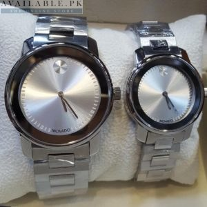 Movado Bold Silver Dial Chrome Bezel Watch For Couple Price In Pakistan