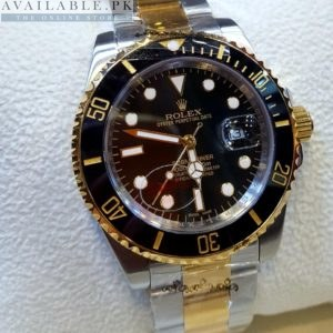 Rolex Black Dial Silver & Golden Stone Men's Watch Price In Pakista