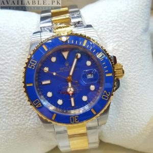 Rolex Blue Dial Silver & Golden Stone Men's Watch Price In Pakistan