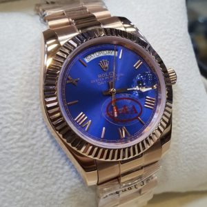 Rolex Copper Color Royal Blue Dial Roman Figures Men's Watch Price In Pakistan