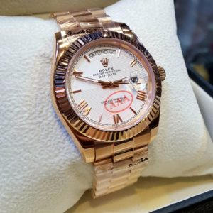 Rolex White Dial Roman Figure Golden Men's Watch Price In Pakistan