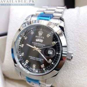 Rolex Smooth Bezel Black Dial Day Date Display Men's Watch Price In Pakistan