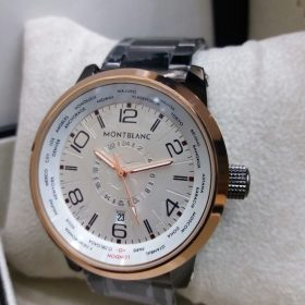 MontBlanc White Dial Double Clock With World Time Indication Price In Pakistan