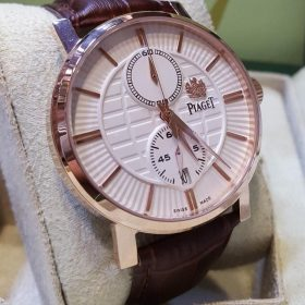Piaget Polo Rose Gold Bezel With Genuine Leather Belt Men's Watch Price In Pakistan