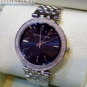 Michael Kors Stoned Bezel Black Dial Stainless Women's Watch