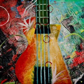 HSK Art - Guitar Modern Art Abstract Wall Painting In Pakistan