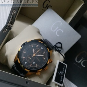 Guess Chronometer Black & Golden Tachymeter Watch Price In Pakistan