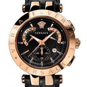 Versace Revive Mother Of Pearl Black Golden Chronograph Watch Price In Pakistan