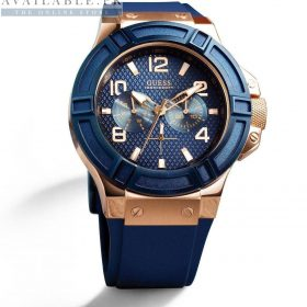 Guess Rigor Blue Rubber Strap Men's Watch Price In Pakistan.