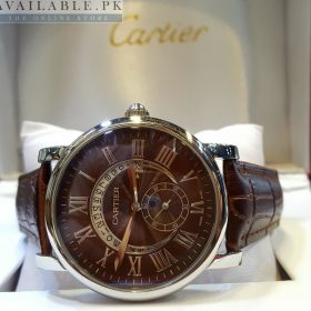 Cartier Roman Figure With Down Second Date Brown Dial Watch Price In Pakistan
