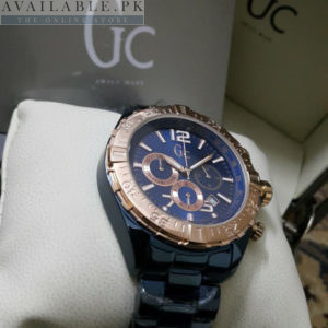 Guess GC Golden Bezel Metallic Blue Glossy Body His Watch Price In Pakistan