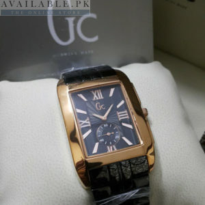 Guess Gc Square With Down Second Black & Golden Watch Price In Pakistan