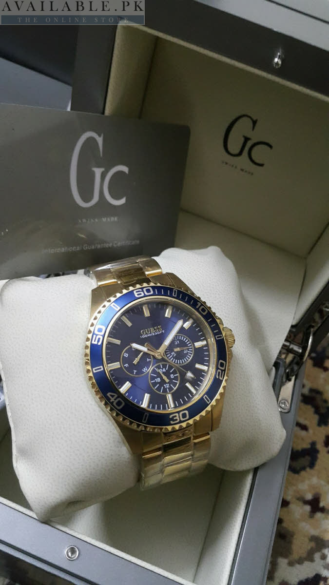 e4afcceae Guess Gc Golden Body Blue Dial Chronograph Men Watch Price In Pakistan