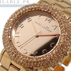 Marc Jacobs Golden Swarovski Women Watch MBM3192 Price In Pakistan